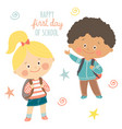 funny hand drawn kids with backpacks cute boy and vector image vector image