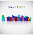 grand rapids skyline silhouette in colorful vector image vector image