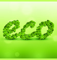green eco background made with leaves vector image vector image