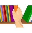 hand taking a book out from the shelf vector image vector image