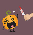 hand with a knife prepare to cut funny vector image vector image