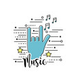 hand with rock symbol and musical signals vector image vector image