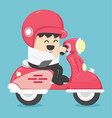happy businessman with scooter vector image vector image