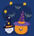 happy halloween funny pumpkin and skull with hat vector image vector image