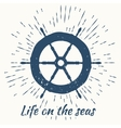 helm and vintage sun burst frame life on the seas vector image vector image