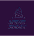 hong kong city logo in line style silhouette of vector image vector image
