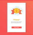 icon red ribbon with gold medal awards for vector image