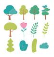 landscape trees flower branch bush foliage nature vector image