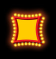 light signboard with lamps retro luminous bulb vector image