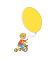 little boy riding bicycle with big balloon in hand vector image vector image