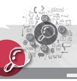 Paper and hand drawn magnifier emblem with icons vector image vector image