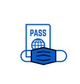 passport and mask travel line icon safe travel vector image