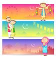 People celebrating Eid vector image
