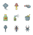 poison icons set cartoon style vector image