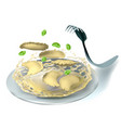 ravioli and fork vector image vector image