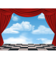 red curtains and sky background vector image vector image