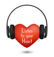 red heart with headphones vector image vector image