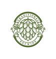 retro vintage badge hop hops beer brewing wine vector image