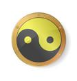 Sacred geometry yin yang symbol in golden silver vector image