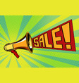 sale pop art megaphone background vector image vector image