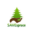 save spruce hand and spruce icon logo concept vector image vector image