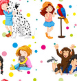 Seamless background with girls and pets vector image vector image