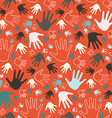 Seamless Palm Hands on Red Background vector image vector image