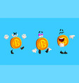 set bitcoin characters with various face vector image vector image