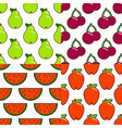set of seamless fruit and berry pattern flat vector image