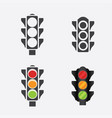 set of traffic lights flat signal icons vector image