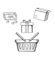 Shopping basket gift parcel and money vector image vector image