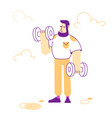 sportsman powerlifter training with dumbbells vector image