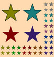 star black star collection with colored stripes vector image