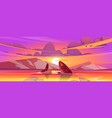sunset landscape with sea and mountains on horizon vector image vector image