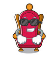 super cool king throne character cartoon vector image