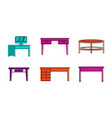 table icon set color outline style vector image