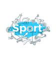 template doodle sports art sketch vector image