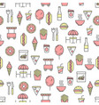 thin line art street food seamless pattern vector image vector image
