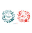 two natural designs set fruits berries and vector image