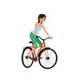 young woman cycling her bike active lifestyle vector image vector image