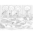 childrens cartoon family of crocodiles in africa vector image