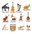 musical instrument symbol set for music design vector image