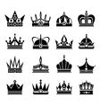 Royal crowns set in black vector image