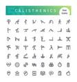 calisthenics line icons set vector image
