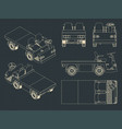 airport baggage towing tractor blueprints vector image