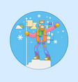 alpinist climbed the mountain vector image vector image