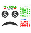 bankrupt smile icon with bonus smile set vector image vector image