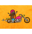 Bikie on a Motorbike Cartoon vector image