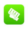 brick in a hand icon digital green vector image vector image