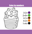 coloring page with cupcake color by numbers vector image vector image